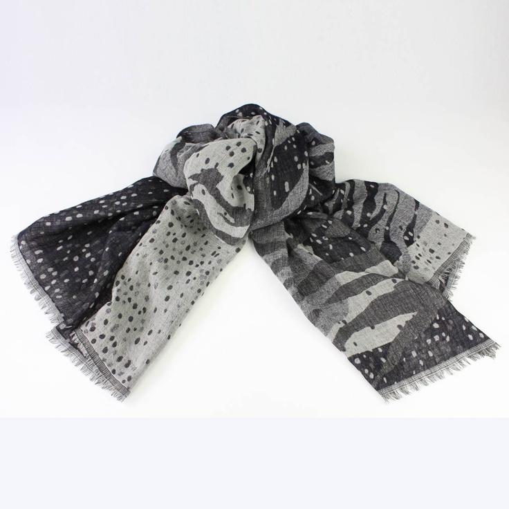 'Amazon' Wool Scarf in Midnight Blue & Grey by Juniper Hearth. 100% fine wool. $89.