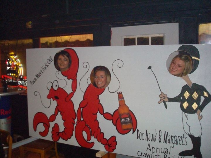 The huge crawfish photo cut out I made for Margaret & Bill's Annual Crawfish Boil
