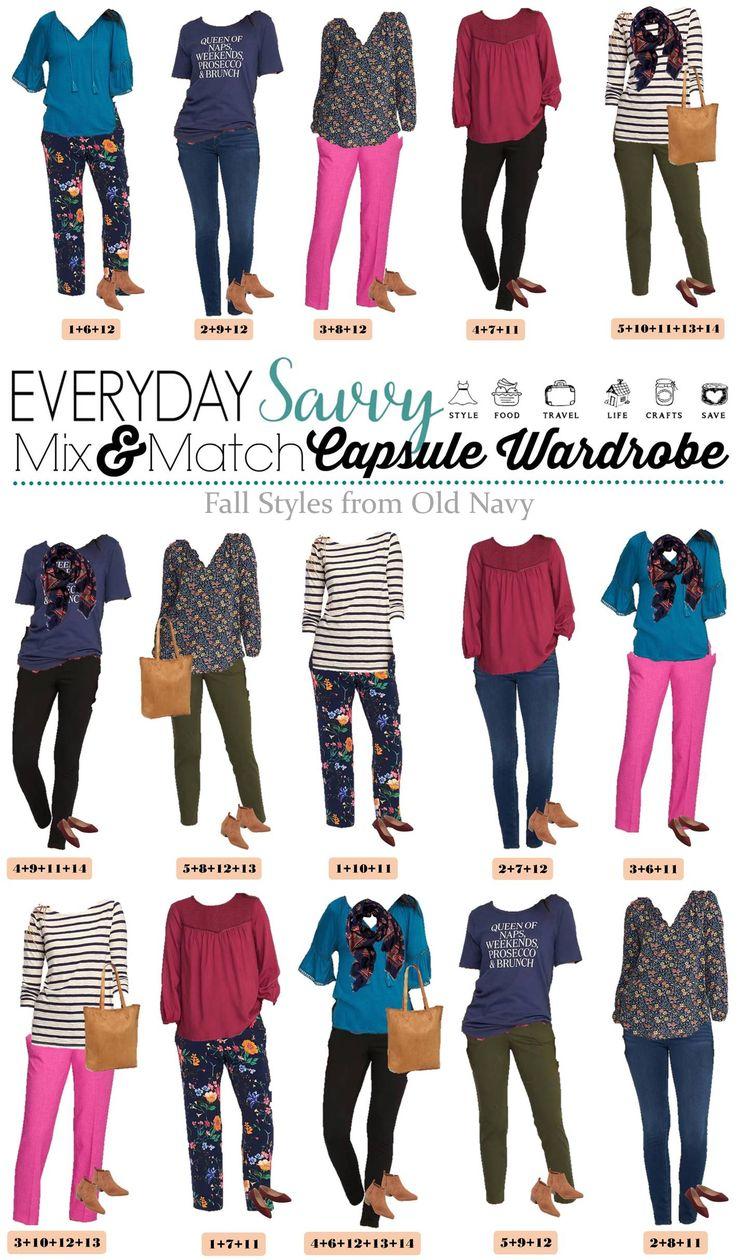 Fun new Old Navy Capsule Wardrobe. It includes fun prints and rich colors. You will be ready for fall with this fun fall capsule collection. via @everydaysavvy