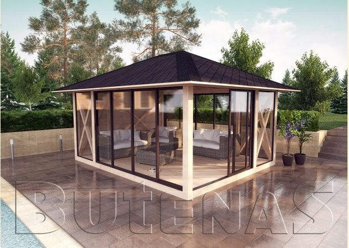gartenpavillon holz mit stoffdach. Black Bedroom Furniture Sets. Home Design Ideas