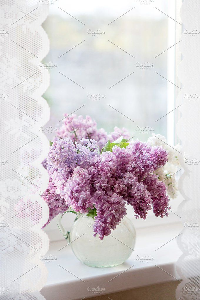 A bouquet of lilacs on the window by OlgaPilnik on @creativemarket