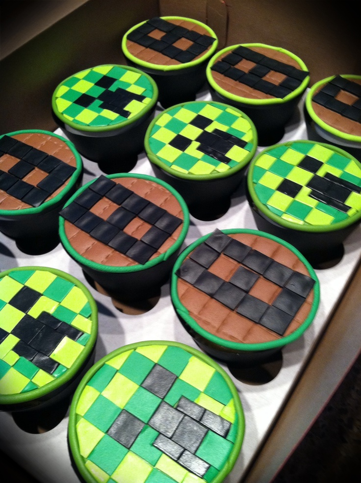 Mine craft sweeper cupcakes | Minecraft party theme ...