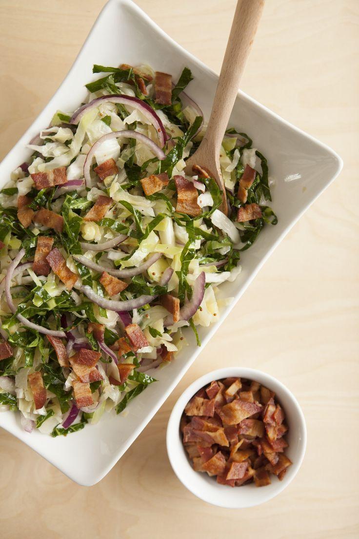 'Bulldog' Collards and Cabbage Slaw with Bacon. Delicious recipe!