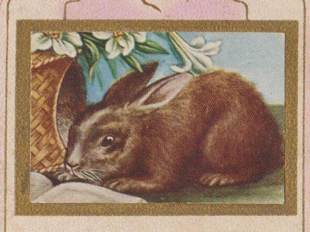 Antique Easter Card Happy Easter Greetings Bunny Ephemera