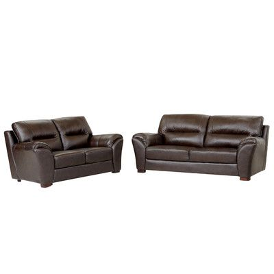 Darby Home Co Schweizer Leather Sofa And Loveseat Set