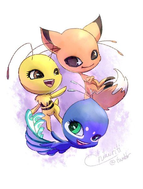 Ideas for the bee, fox, and peacock kwamis (Miraculous Ladybug)