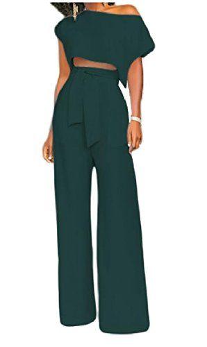 37a49bc031 Tootless-Women Wide Legs Crewneck Short-Sleeve Pockets 2 Pieces Office High  Waist Pants Sets