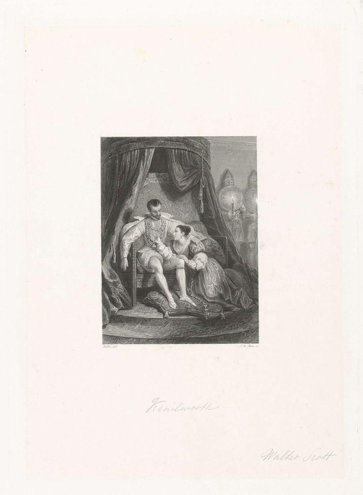 Johannes de Mare | Man op een troon met aan zijn voeten een dame, Johannes de Mare, 1821 - 1889 | De personages Amy Robsart en de graaf van Leicester uit het boek Kenilworth uit 1821 van Sir Walter Scott.