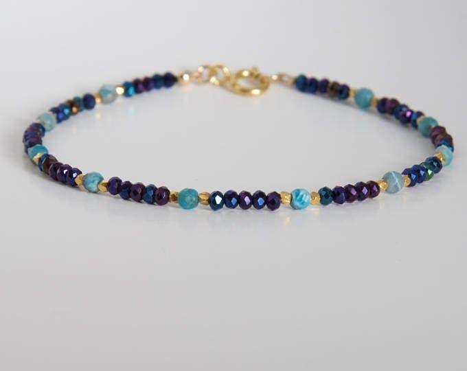 Gemstone Beaded Bracelet Blue Gemstone Bracelet Multi Stone Bracelet Blue Bracelet For Her Lapis Lazuli Bracelet Modern Bracelet