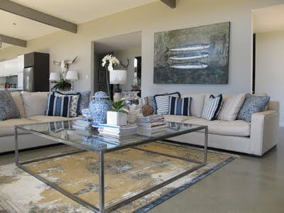 Industrial Country Living Room - coffee table, floors, couch fabric, beams