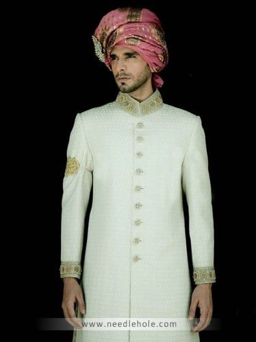 #Jamawar #wedding #sherwani for men, embellished collar, sleeves cuffs and buttons detail on front in offwhite color http://www.needlehole.com/jamawar-wedding-sherwani-for-men-in-offwhite-color-292.html #Junaid jamshed wedding sherwani and sherwani suits usa. Pakistani #wedding sherwani collection and indian men's #sherwani suits collection by junaid jamshed men's stores