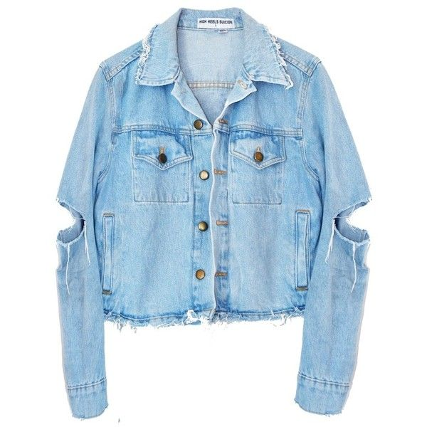 TROUBLE MAKER DENIM JACKET (£84) ❤ liked on Polyvore featuring outerwear, jackets, tops, distressed jean jacket, blue jean jacket, jean jacket, distressed jacket and blue jackets