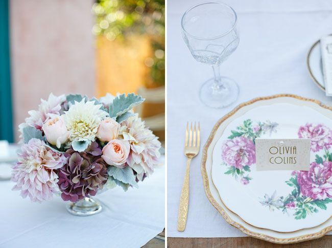 The Vintage Table Co place setting - Great Gatsby wedding inspiration on Green Wedding Shoes
