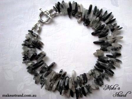Black quartz spikes feature in this funky choker that can be worn as shown or with the strands twisted together to create a funky collar effect In stock: AU$180 + postage