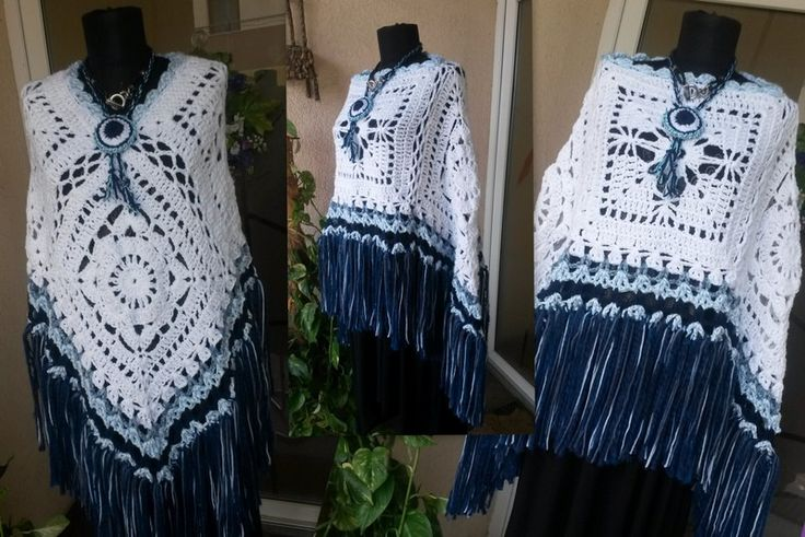 Women's Handcrocheted Poncho With Fringe and 2 way to be worn/ Poncho White_blue /Country Poncho/3 seasons Poncho
