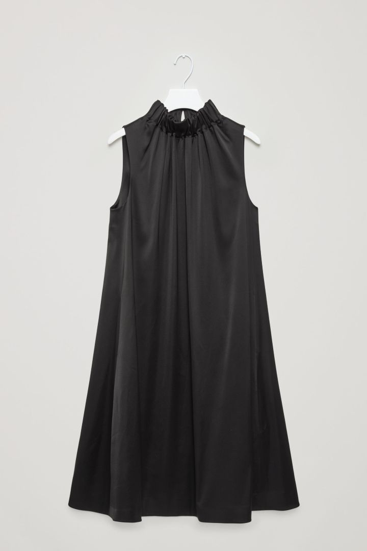 COS | Dress with gathered high-neck in Black
