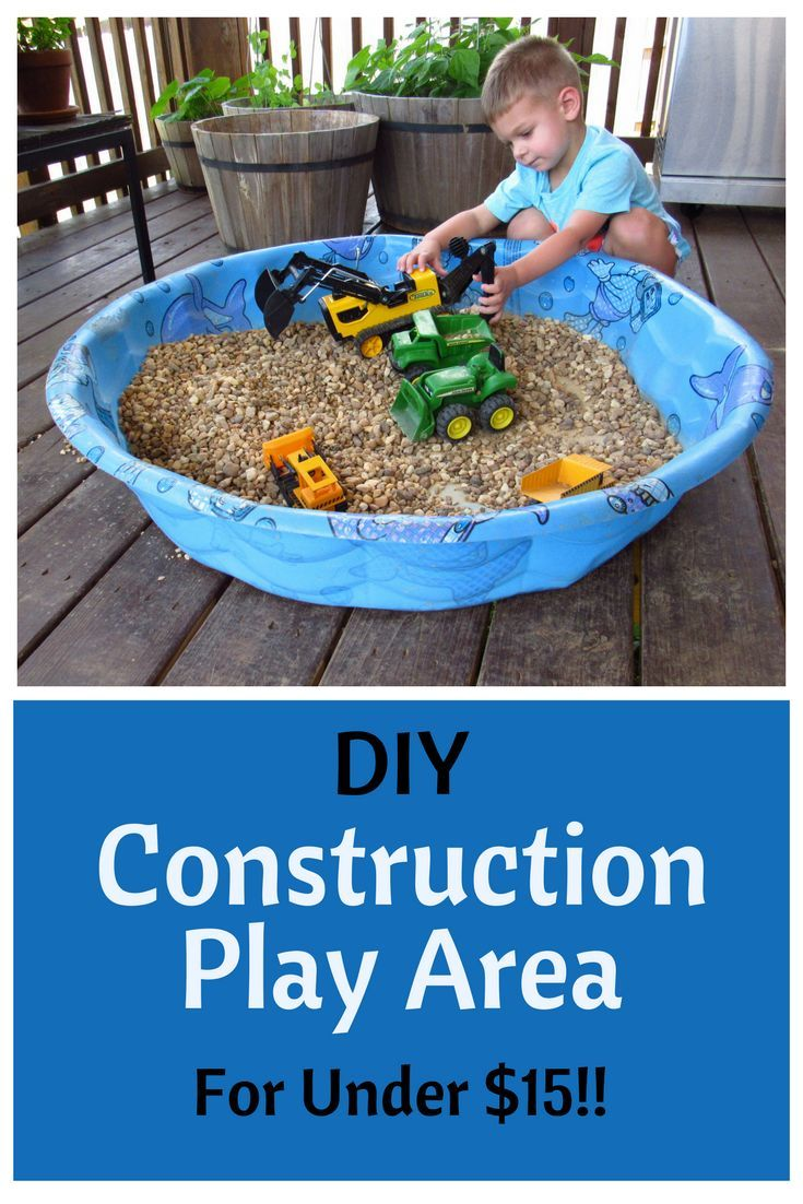 DIY Construction Play Area - For Under $15!!! Looking for an inexpensive way to keep your kids busy this summer? This DIY Construction Play Area can be easily created with items you probably already have around the house and provides hours of independent