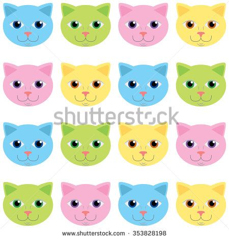 Colored cats vector pattern - stock vector