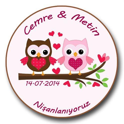 Show details for Cute Owls in Love - Düğün, Nişan, Nikah Sticker - Etiket