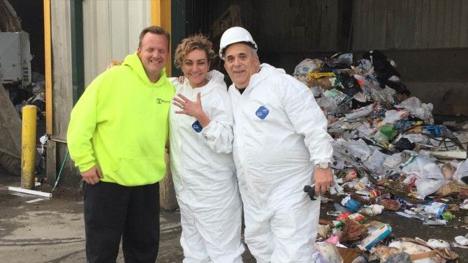 Bernie Squitieri said he and his wife had no idea what 10 tons of trash looked like, until they had to dig through it with some men at the trash company.