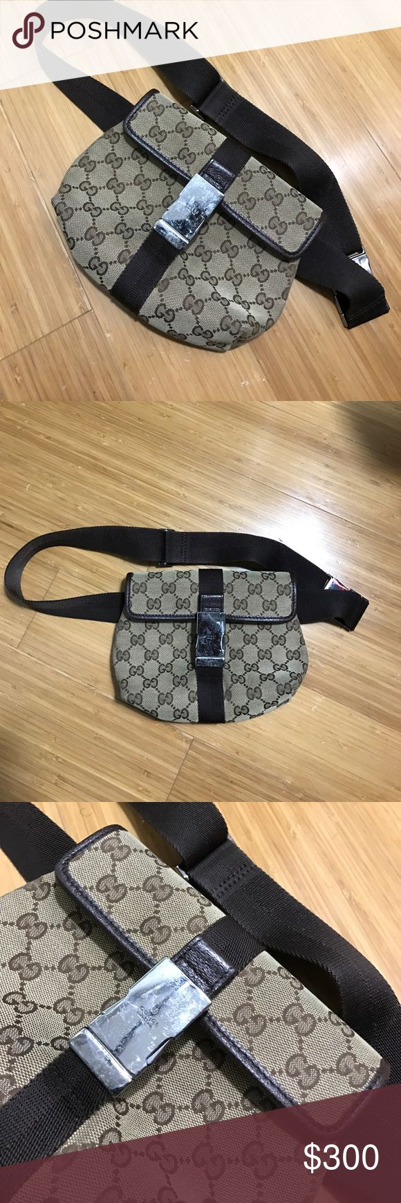Vintage Gucci Guccissima Fanny Waist Belt Bag Authentic - Gucci Canvas with leather trim and lining - minor surface wear on hardware and some wear to interior  - see pics for details Gucci Bags