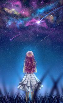Фото Девушка смотрит в ночное небо на падающие звезды, by Pluvias