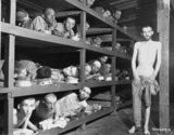 Former prisoners in Buchenwald stare out from the wooden bunks in which they slept three to a bunk.