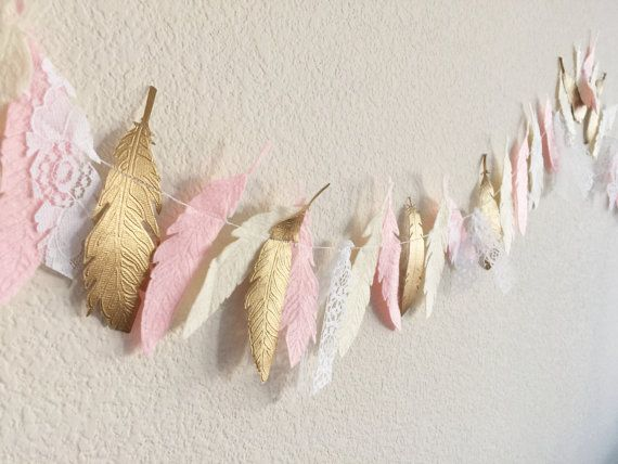 Feather Garland Feather Teepee Felt Garland von TheLilFeltShoppe