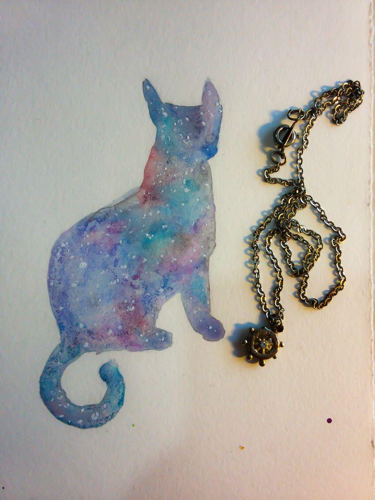 Galaxy cat watercolor