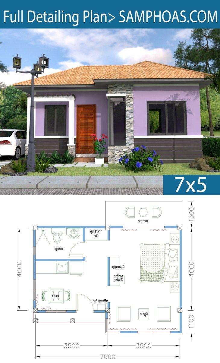 Sketchup Home Design Plan 7x5m Studio Room Samphoas Com Home Design Plan House Design Little House Plans