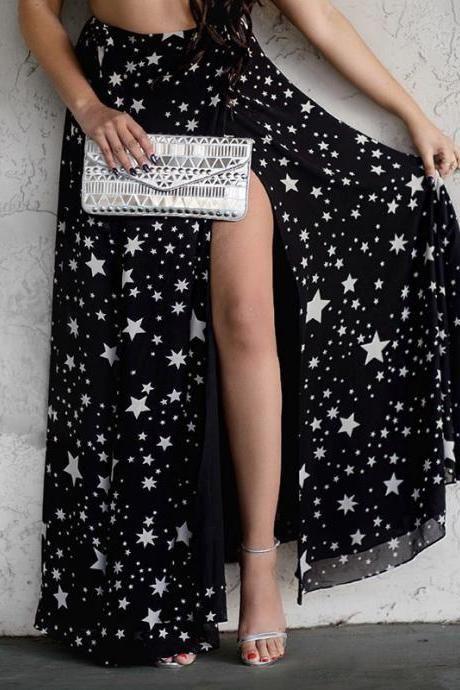 Dot Print Black Maxi Skirt Sexy Slit Chiffon Skirt Women Fashion Bohemian Skirts E098