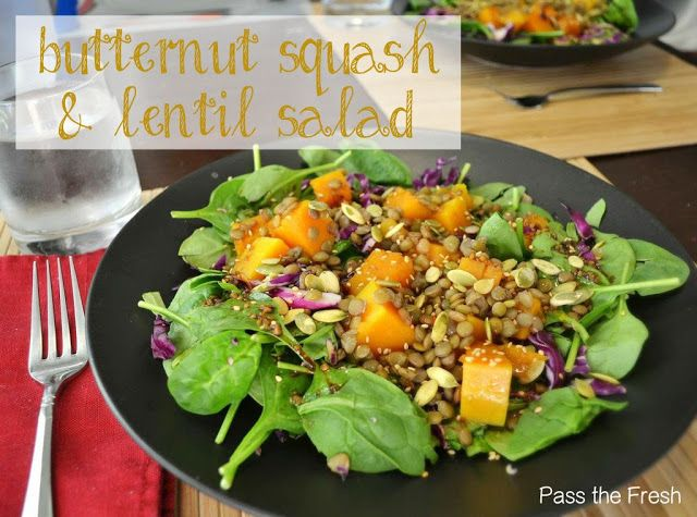 Butternut Squash, Lentil & Kale Salad With Tahini Dressing ...