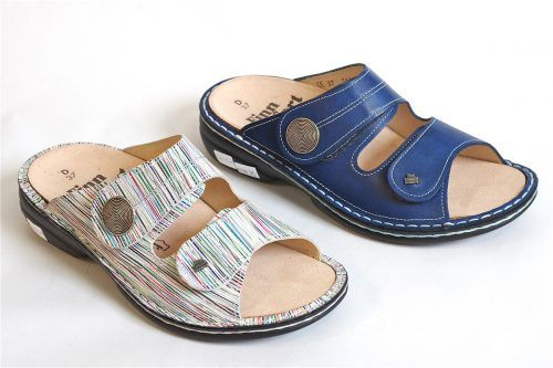 SANSIBAR by Finn Comfort: Double velcro slide with frim footbed insoles, orthotic friendly.  Adjustable for wide and extra wide widths.