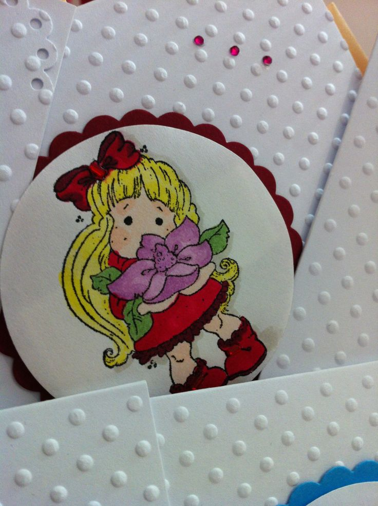 """d'Luxe by Sophi - Lovely Girls http://divabudoir.com/  12 cards, made to order  """"Young Lady"""" - Embossed paper; diecut and stamped; printed image, colored with Copic marker, manually embossed; rhinestones in matching colors"""