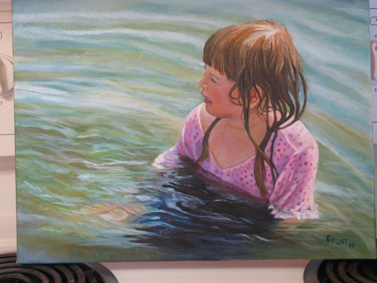 Oil painting on canvas.  Cooling off in the lake.  Artist Gail Flint