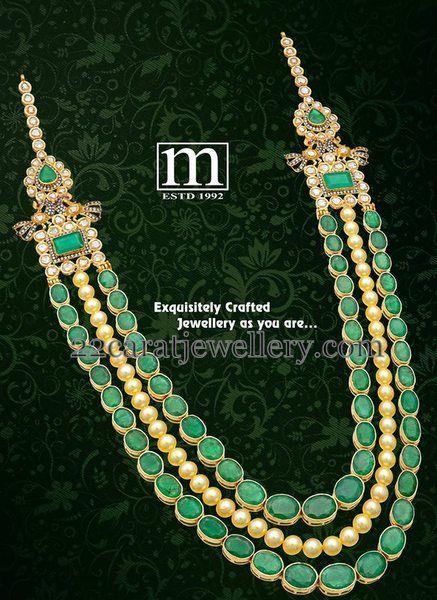 Jewellery Designs: Emerald Stones Pearls Long Chain