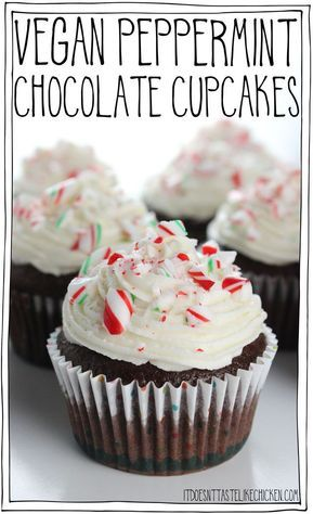 Vegan Peppermint Chocolate Cupcakes! Perfect for Christmas and holiday baking. Mint chocolate cake with peppermint infused frosting, decorated with crushed candy canes. #itdoesnttastelikechicken