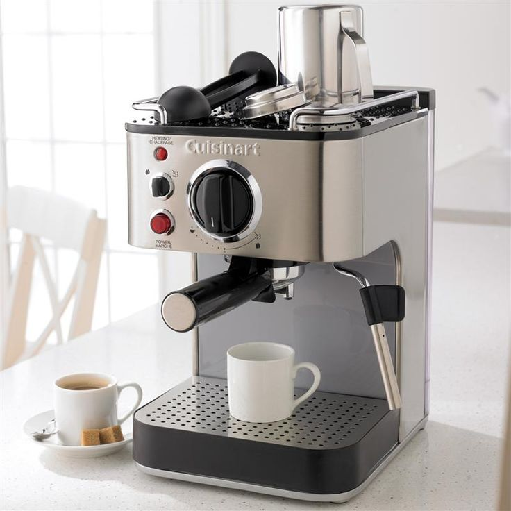 Imagine a cup of your favourite espresso, cappuccino or latte- hot, rich, fresh and flavourful- anytime you want it. The Cuisinart® Espresso Maker is the real thing and looks like the professional equipment it is. Make espresso in your own kitchen, then use the stainless steam nozzle and frothing cup to turn it into cappuccino or latte- just like the pros!