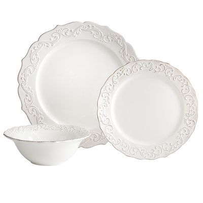 Antique Scroll Dinnerware - Pier 1 - http://www.pier1.com/Antique-Scroll-Dinnerware/PS38375,default,pd.html?cgid=white-dinnerware