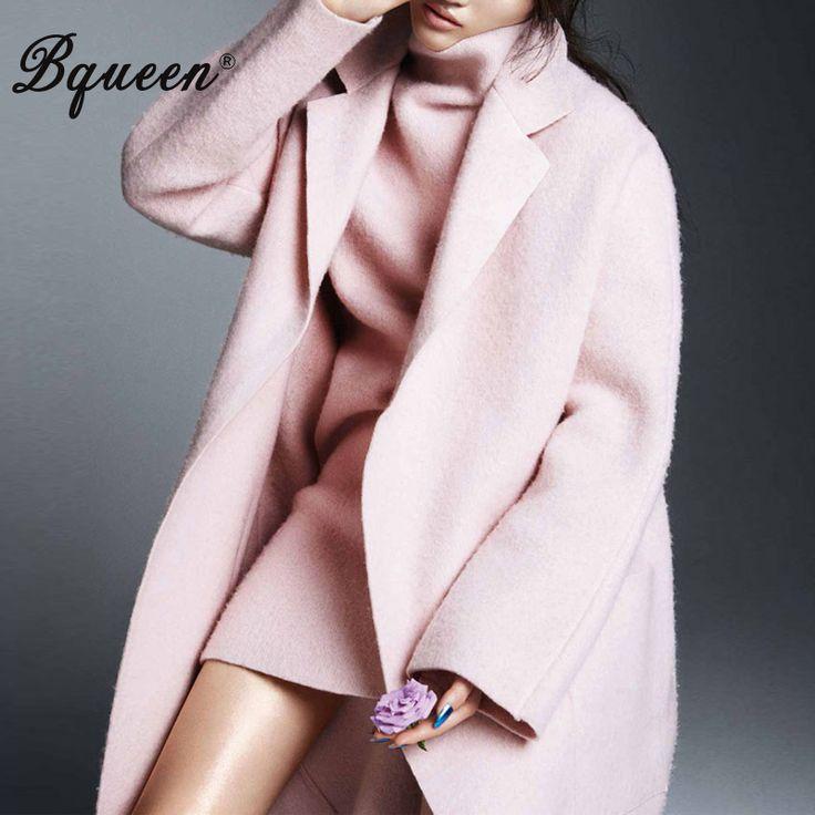 Bqueen 2017 Зима Новый отложным Воротником Темперамент Элегантный Длинные Свободные Розовый Шерстяные Пальто Куртки купить на AliExpress