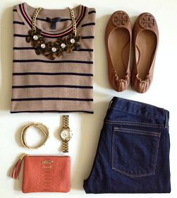 Sweet Southern Prep; I really like the taupe and blue top.