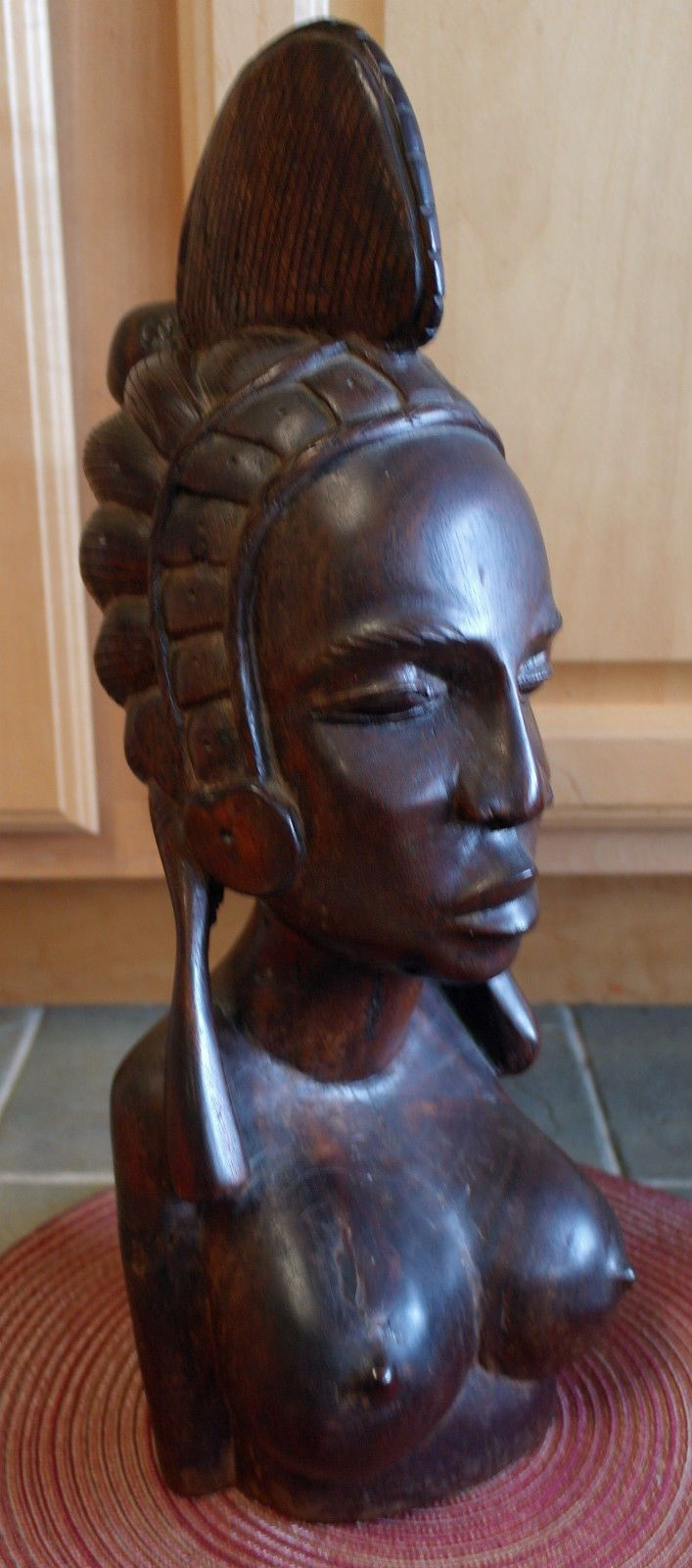 Large heavy african carved wood female bust head fulani