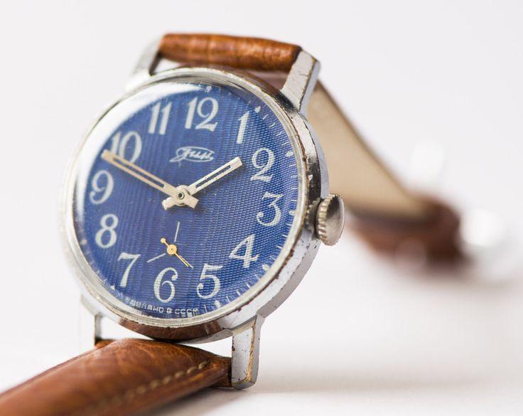 Vintage Wrist Watch Zim Men S Watch Soviet Blue Face