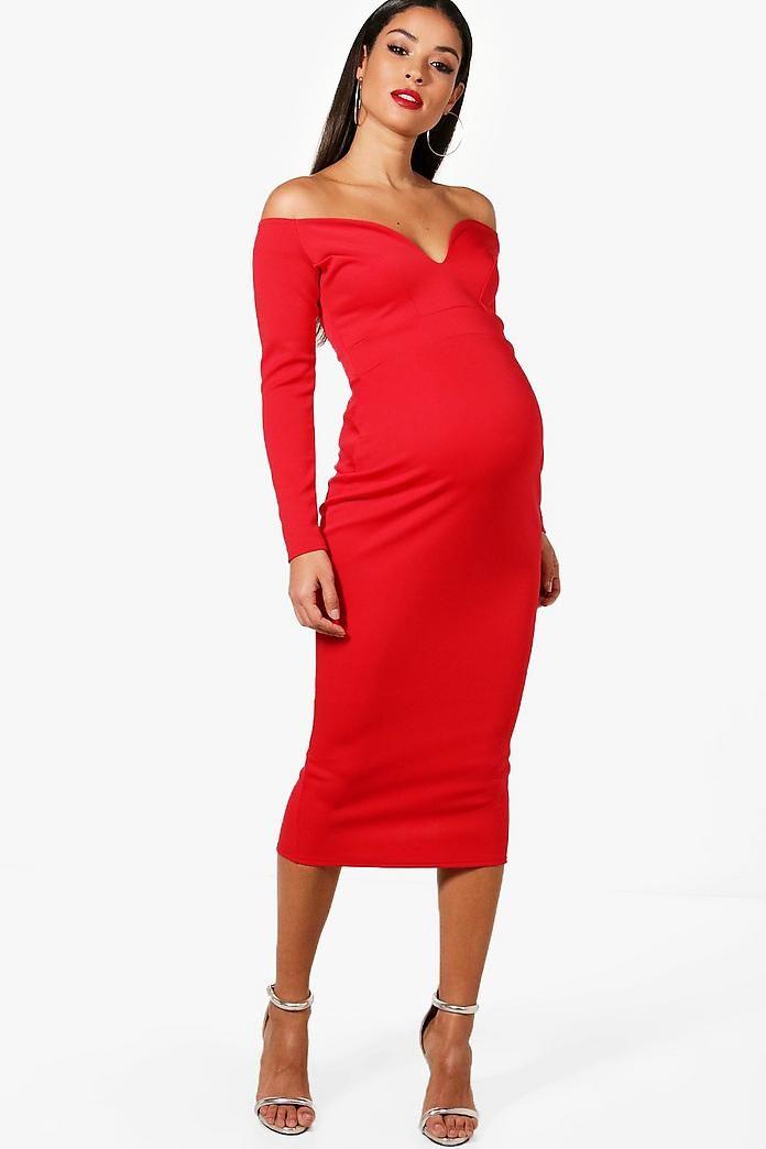 Maternity Josie Sweetheart Bardot Midi Dress