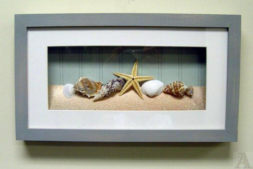 bathroom wall decor: Shell Seashell Starfish Fish Bathroom Room Shadow Box Wall Art *What if I put sand from a beach I have been too in this shadow box*