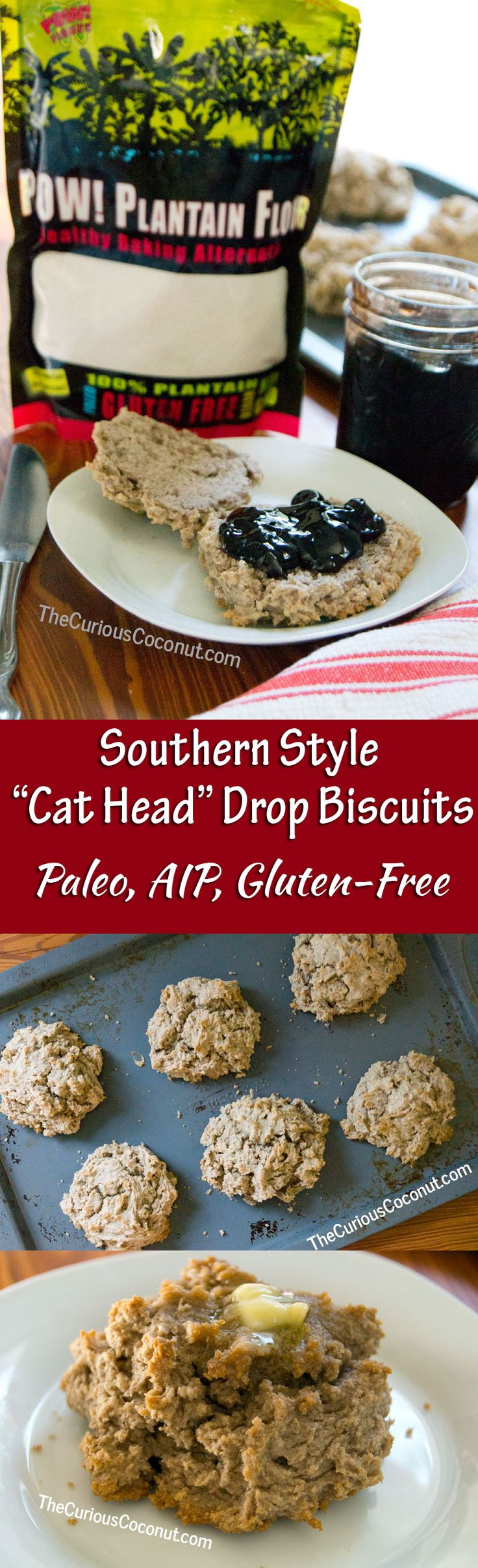 Cat-head biscuits are a Southern traditional drop biscuit. Easy, delicious, now gluten-free, Paleo, AIP with #plantainflour // TheCuriousCoconut.com (Vegan Gluten Free Biscuits)
