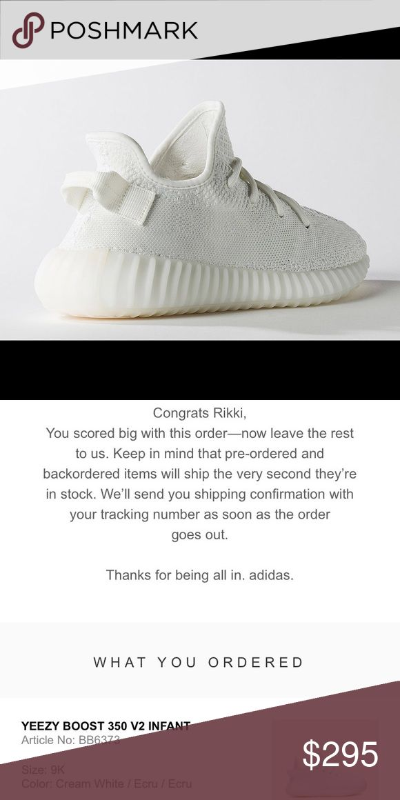 Yeezy Boost / cream / infant size 9k All cream, infant Yeezy boost, size 9k. These are 100% authentic, they haven't been shipped yet but I can provide whatever proof needed. Price is firm. Yeezy Shoes Sneakers