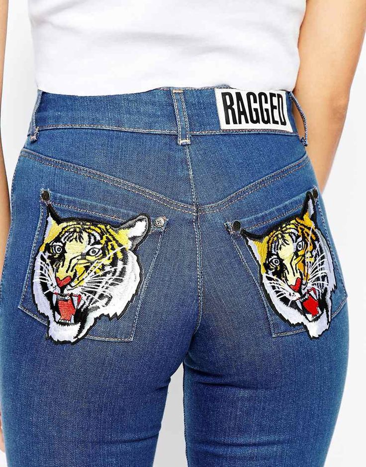 Image 3 of The Ragged Priest Skinny Jeans With Tiger Patch Bum