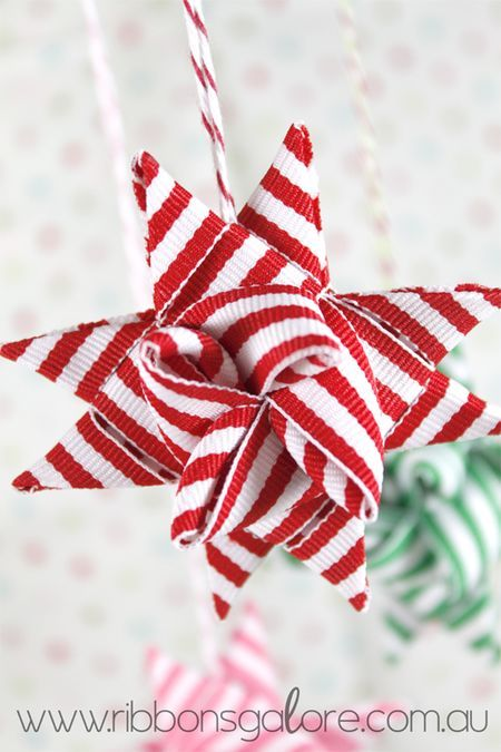 Ribbon Star - I never thought about doing these w/ ribbon - that would make more sense than cutting a bunch of paper though...
