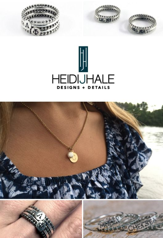 NEW Sweet Elite Sponsor HEIDI J HALE is a fantastic handcrafted jewelry company that just launched a beautiful greek collection. They've introduced greek letter rings and a big/little design as well. <3 I recently interviewed Heidi J. Hale, CEO of Heidi J. Hale Designs, LLC to learn more about this awesome company! Get the SCOOP on their super sorority sparkle!!! <3 BLOG LINK: http://sororitysugar.tumblr.com/post/134279544214/sweet-on-greek-spotlight-heidi-j-hale#notes